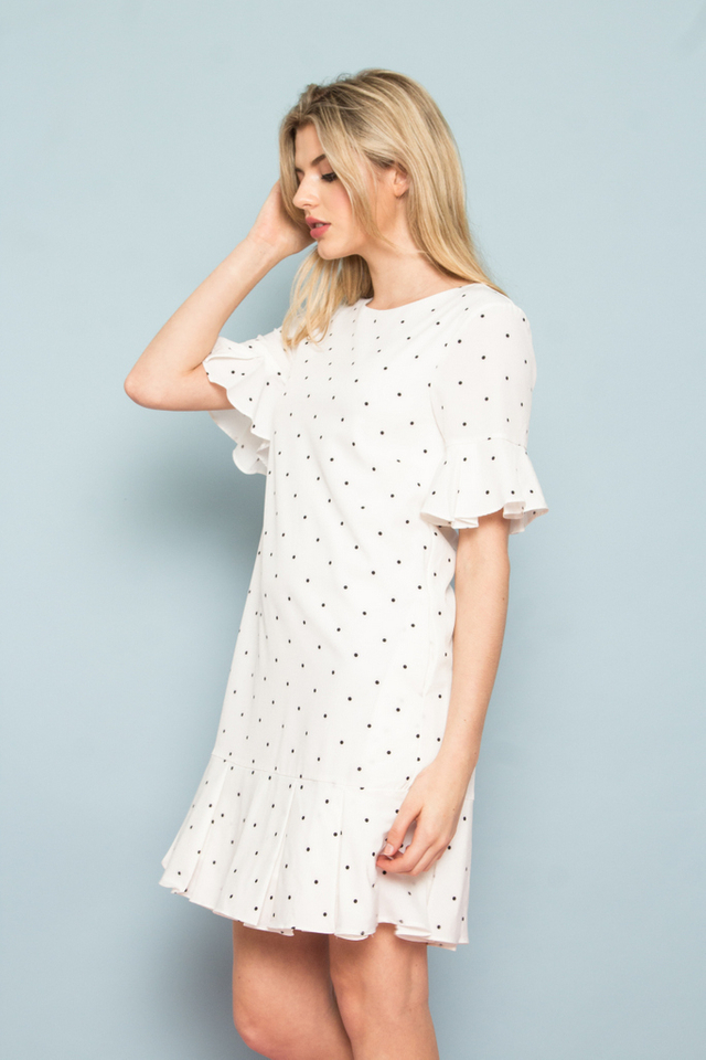 Sorrell Polka Dot Dropwaist Dress in White