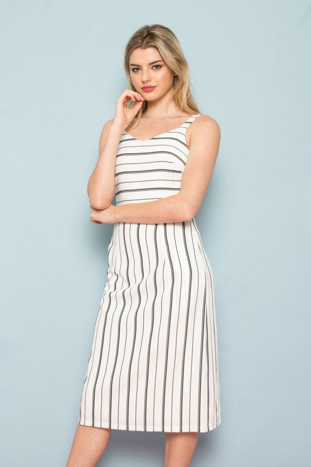 Eilena Pinstripe A-Line Midi Dress in White