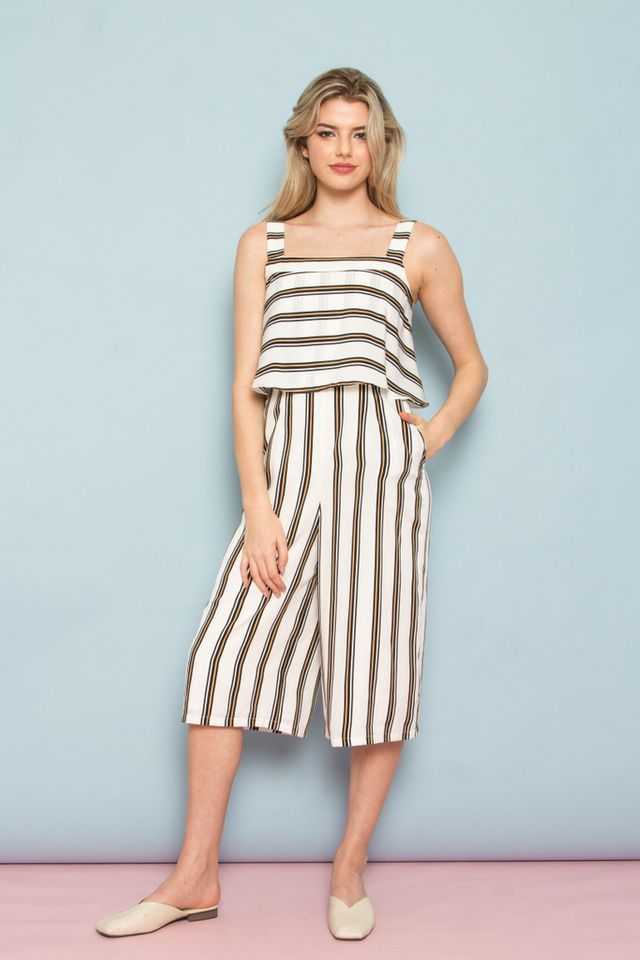 Darby Stripe Layered Jumpsuit in White