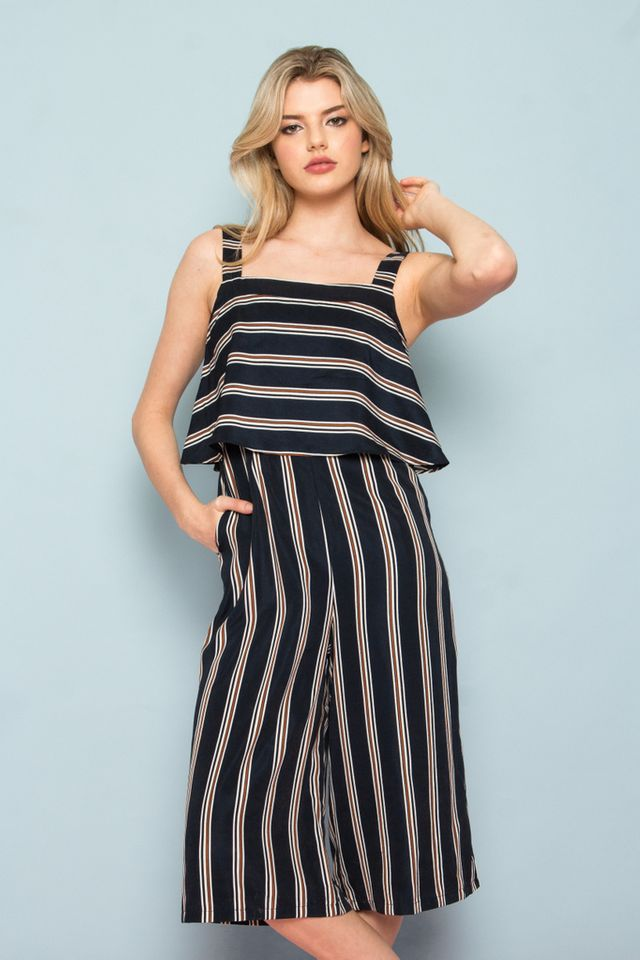 Darby Stripe Layered Jumpsuit in Navy (XS)