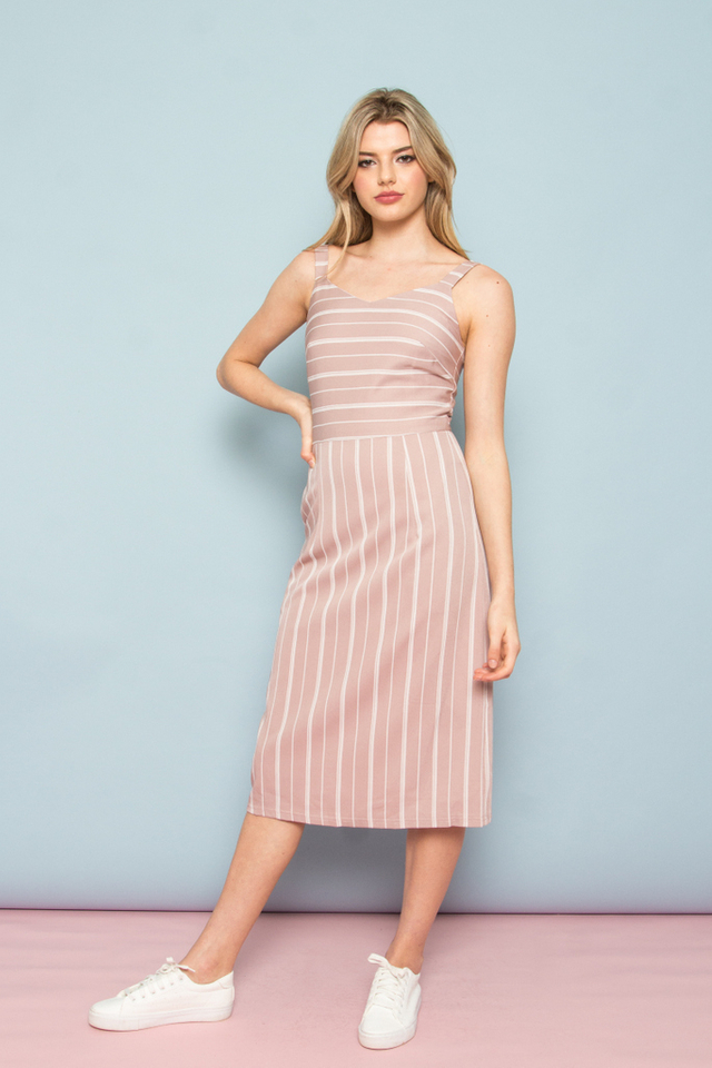 Eilena Pinstripe A-Line Midi Dress in Dusty Pink (XS)