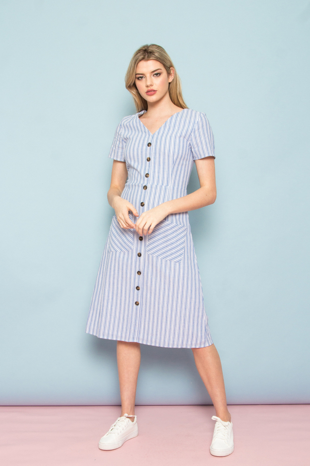Aristeia Pinstripe Button Down Midi Dress in Blue (XS)