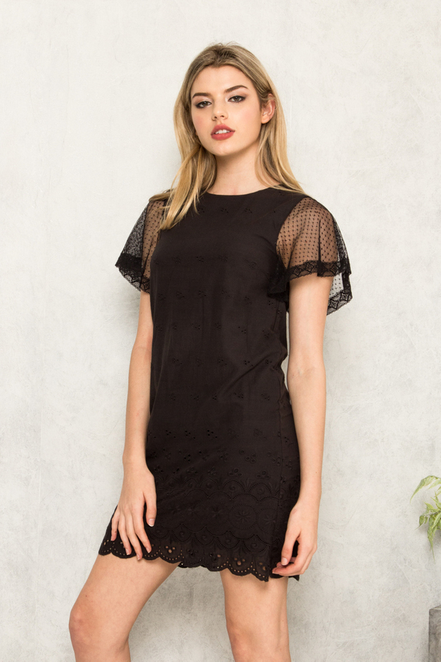 Valaree Eyelet Mesh Shift Dress in Black
