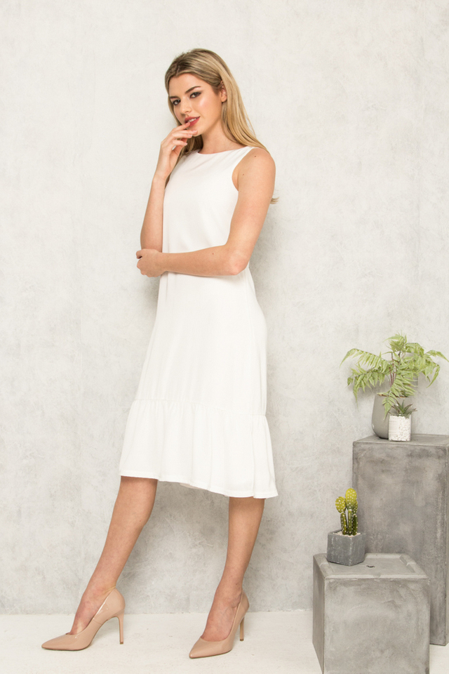 Priscilla Dropwaist Midi Dress in White