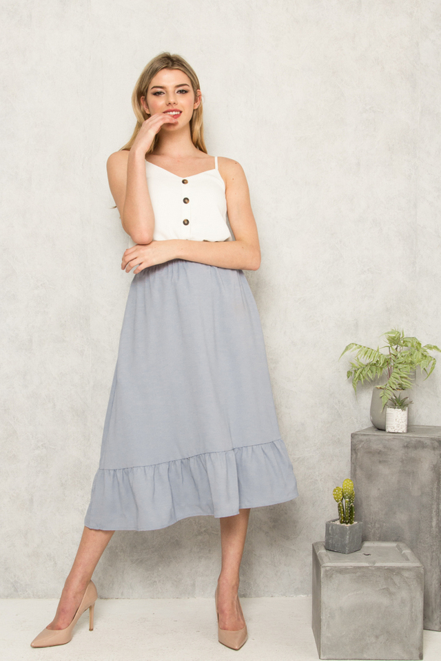 Marini Ruffles Midi Skirt in Dusty Blue (XS)