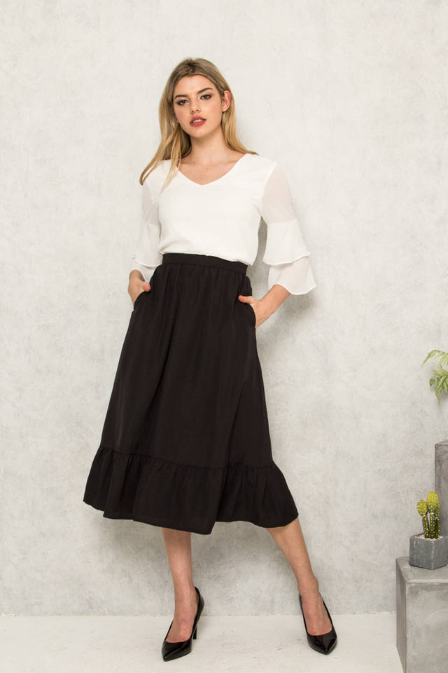 Marini Ruffles Midi Skirt in Black (XS)