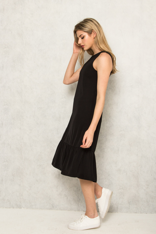 Priscilla Dropwaist Midi Dress in Black