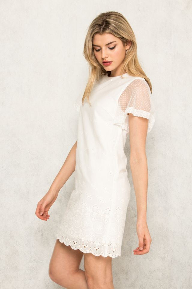 Valaree Eyelet Mesh Shift Dress in White