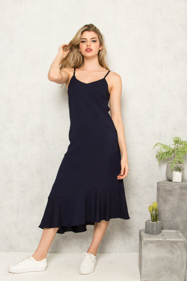 Jeannine Slip Ruffles Dress in Navy
