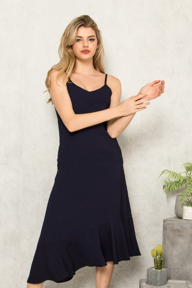Jeannine Slip Ruffles Dress in Navy (S)