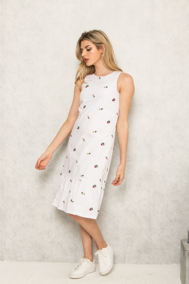 Isabetha Floral Embroidery Midi Dress in White (XS)