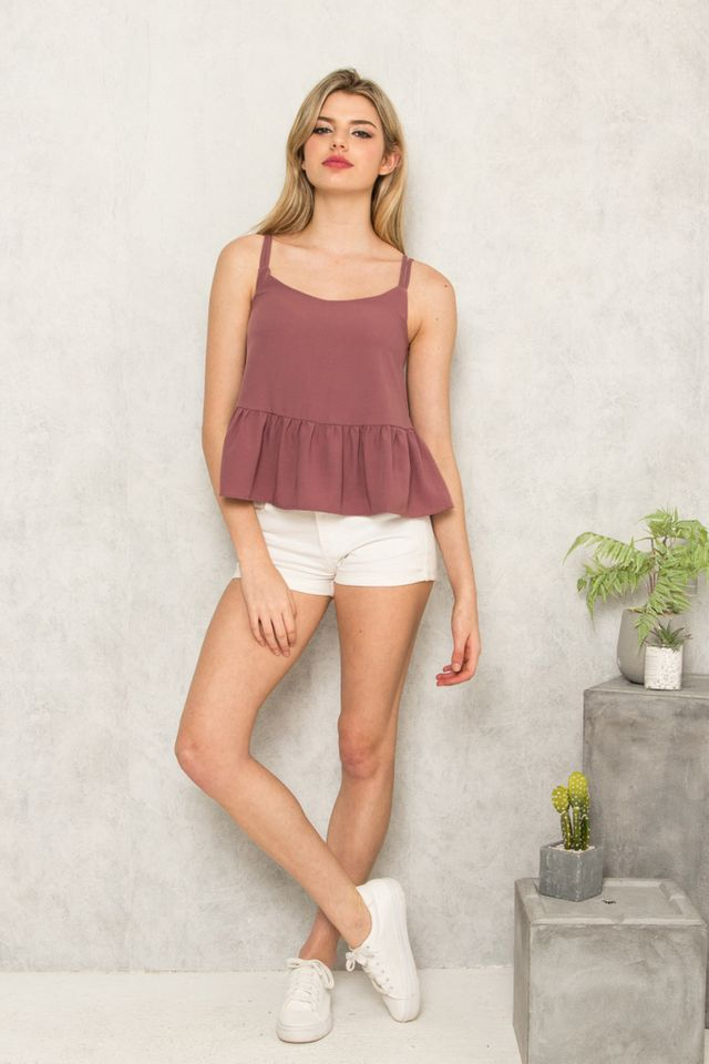 Amare Double Strap Babydoll Top in Dusty Mauve