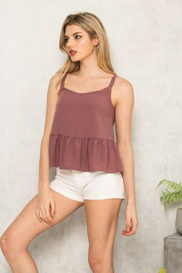 Amare Double Strap Babydoll Top in Dusty Mauve (L)