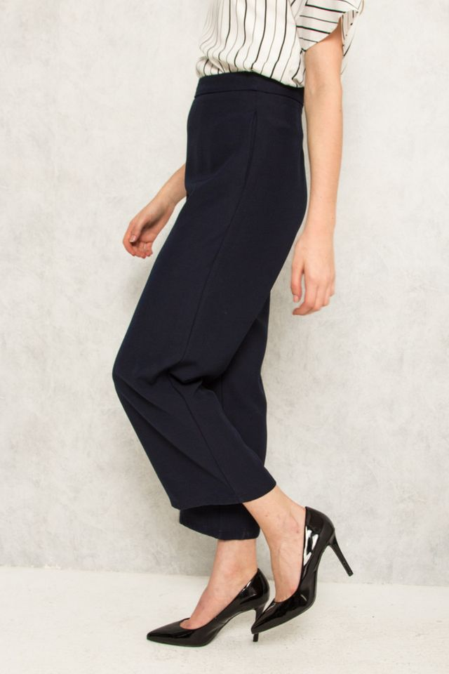 Alric High Waisted Palazzo Trousers in Navy