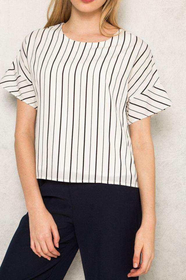 Etain Striped Button Top in White (L)