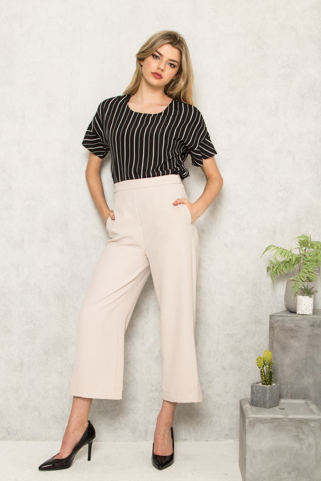 Alric High Waisted Palazzo Trousers in Beige