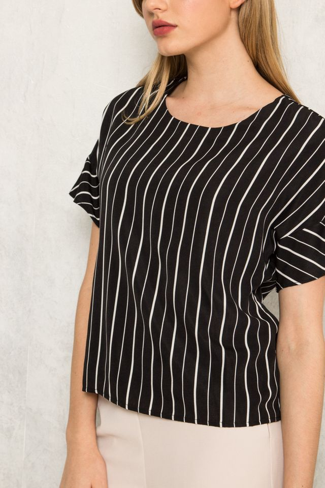 Etain Striped Button Top in Black