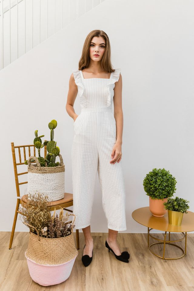 Arlenis Striped Ruffle Jumpsuit in White
