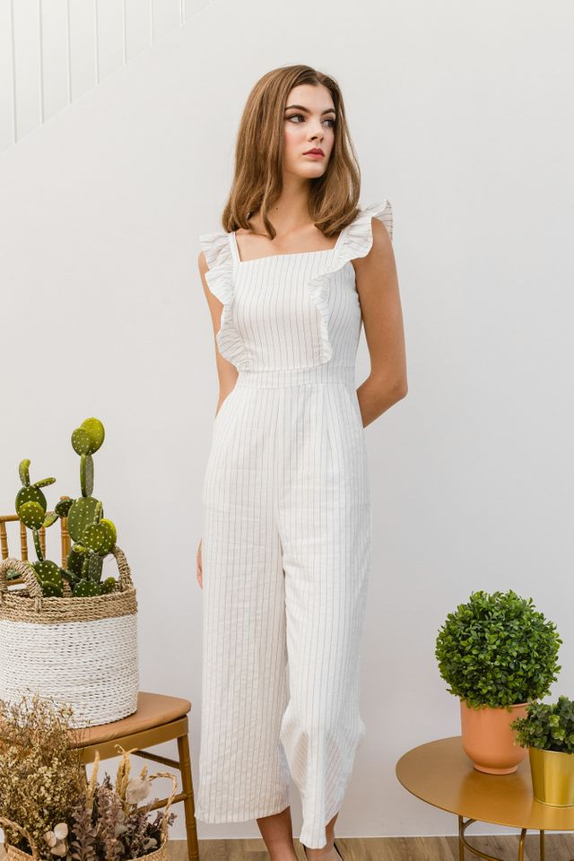 Arlenis Striped Ruffle Jumpsuit in White (XL)