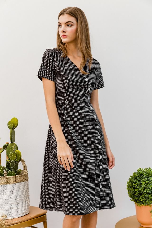 Willemina Polka Dot Button Midi Dress in Black (XS)