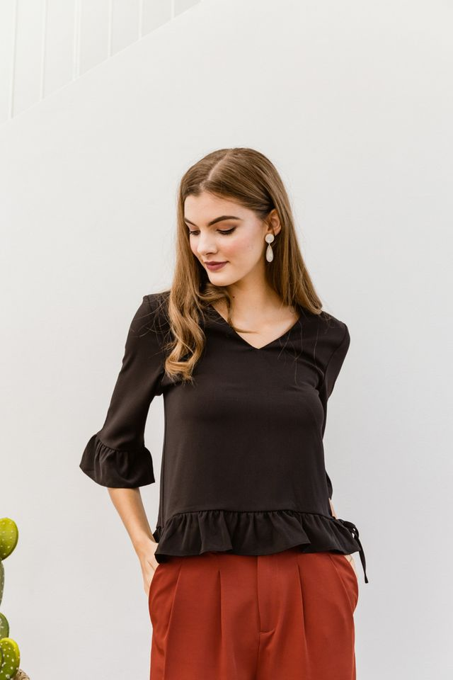 Nerine Faux Wrap Ruffles Top in Black