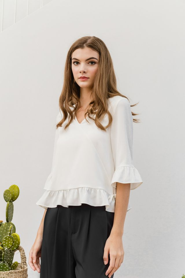 Nerine Faux Wrap Ruffles Top in White (L)