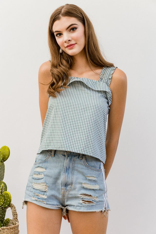 Clotille Ruffled Gingham Top in Green (XL)
