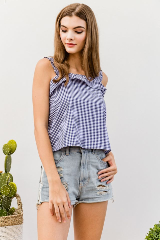 Clotille Ruffled Gingham Top in Blue (XL)
