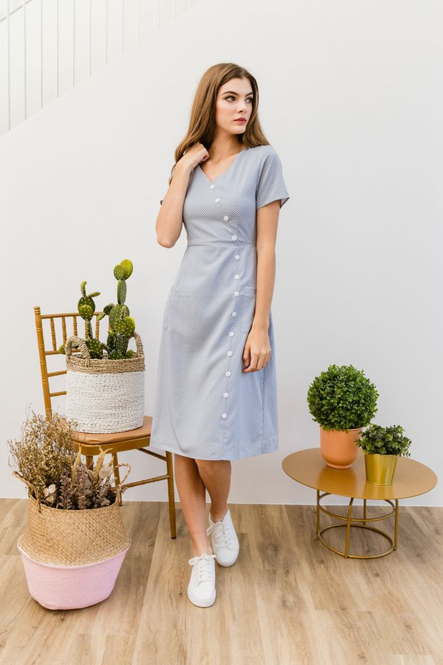 Willemina Polka Dot Button Midi Dress in Powder Blue (XS)