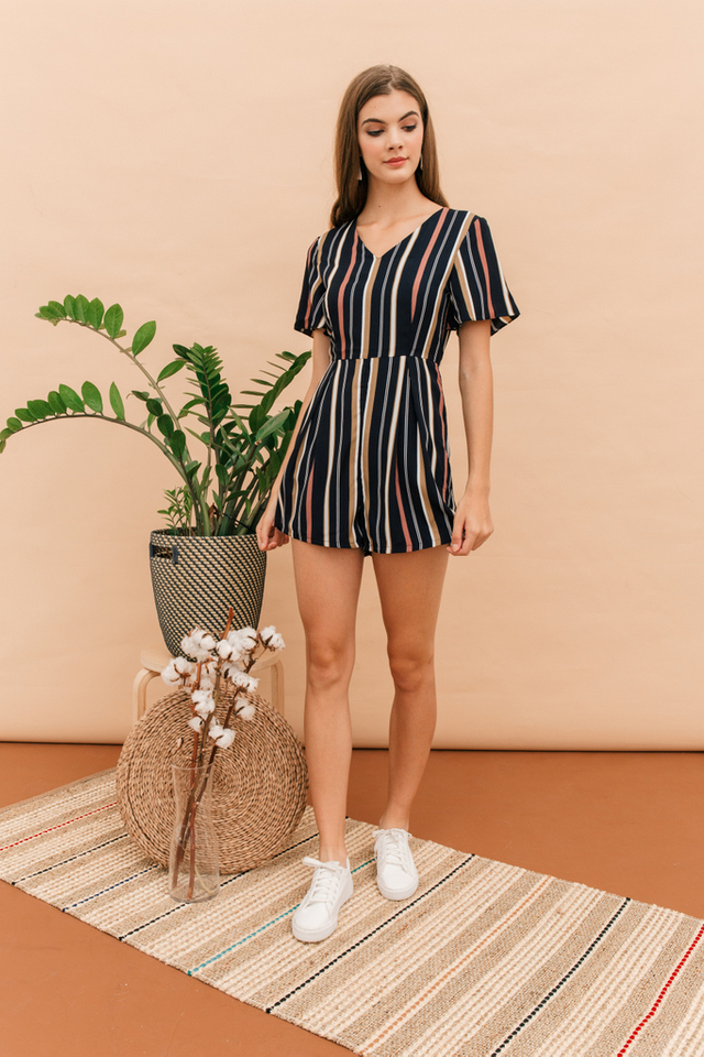 Miro Pinstripe Romper in Navy (XL)