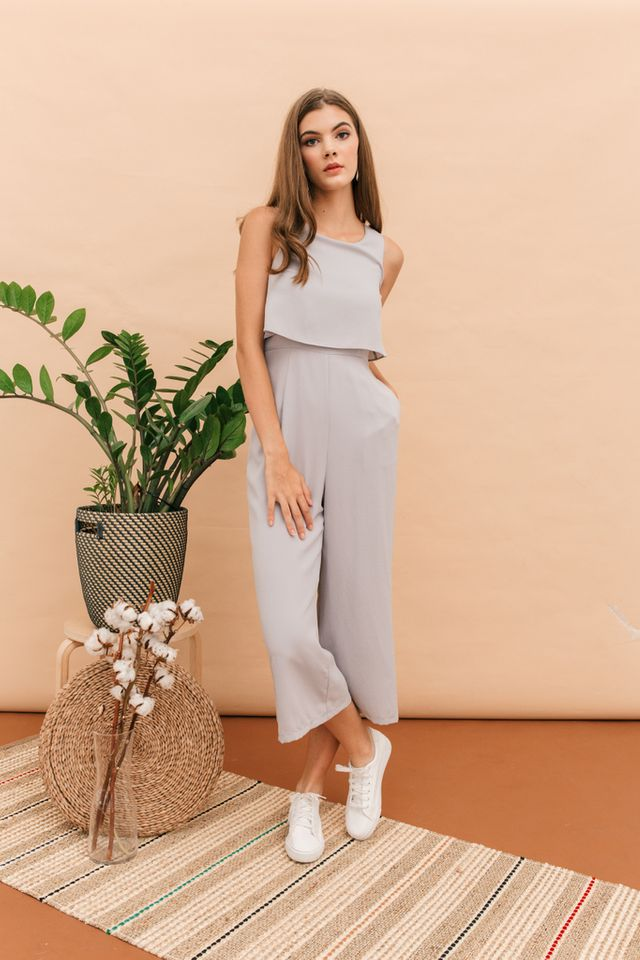 Uriela Layered Wide Leg Jumpsuit in Grey