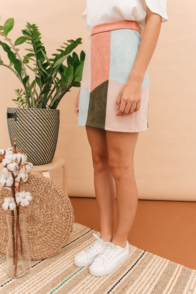 Vilette Colourblock Skirt in Multi-colour (L)