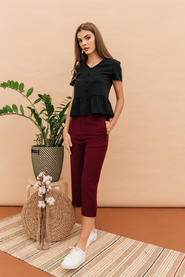 Dyann High Waisted Culottes in Burgundy