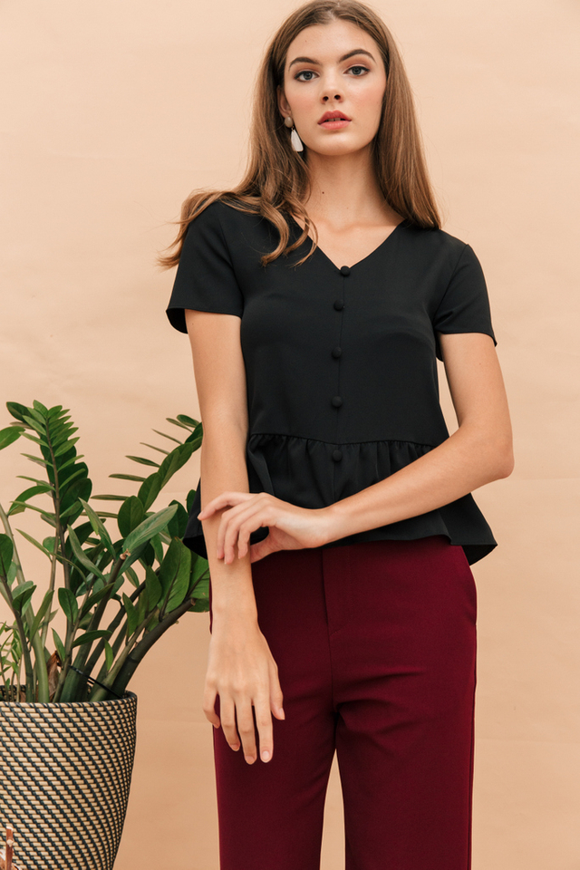 Talbot Button Down Babydoll Top in Black