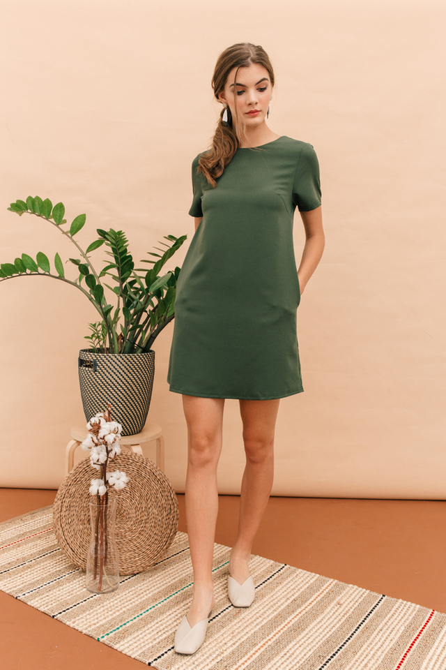 Zen Basic Shift Dress in Forest