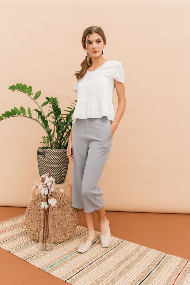 Dyann High Waisted Culottes in Grey-blue