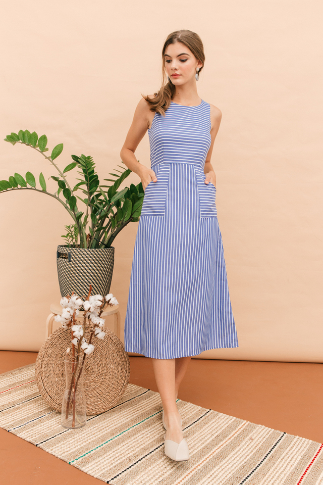 Keahi Striped Maxi Dress in Blue (XS)