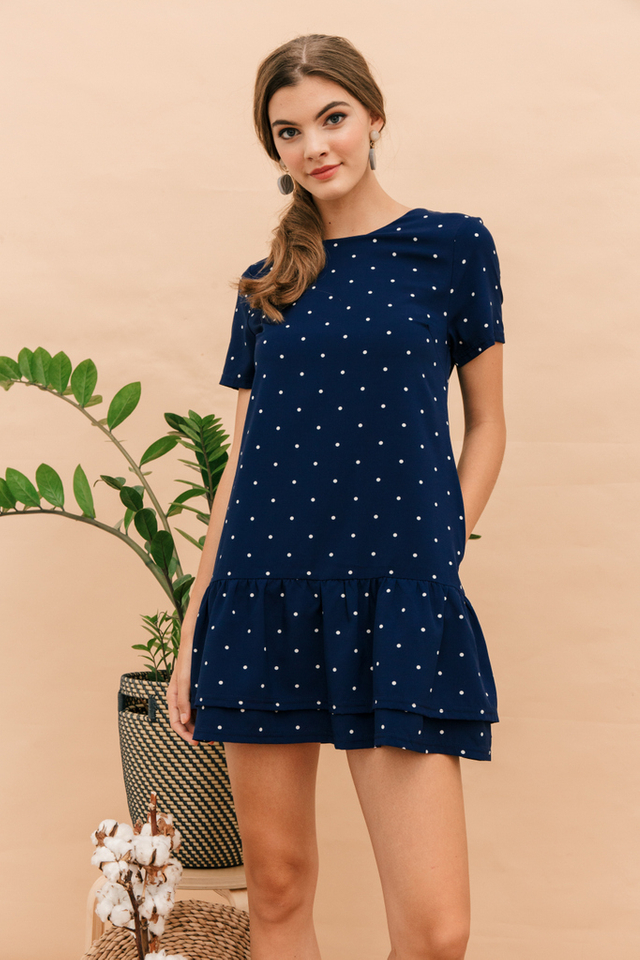 Nanette Polka Dot Dropwaist Dress in Navy