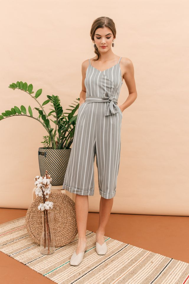 Penthia Faux Wrap Pinstripe Jumpsuit in Steel Grey (XL)