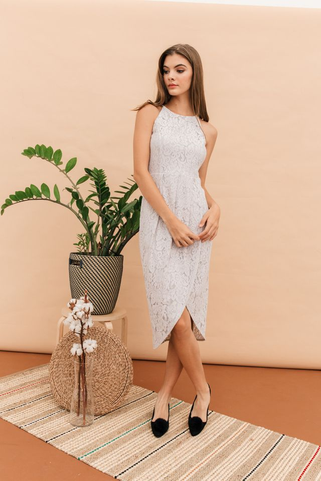 Delphia Lace Petal Midi Dress in Grey
