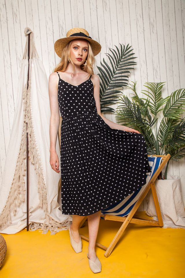 Luciella Polka Dot Pleated Midi Dress in Black