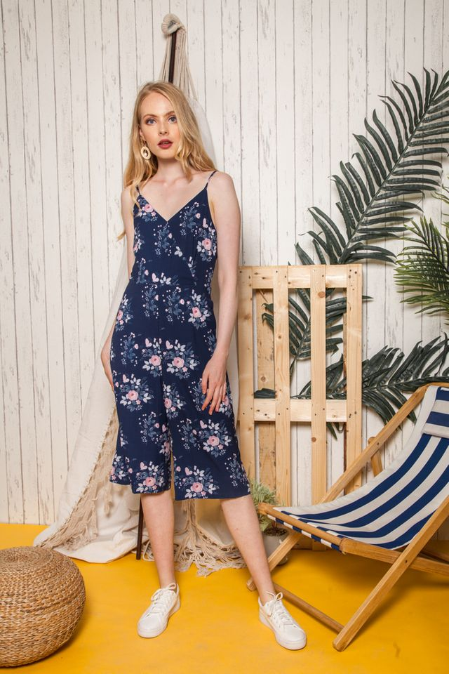 Neira Faux Wrap Floral Jumpsuit in Navy (L)