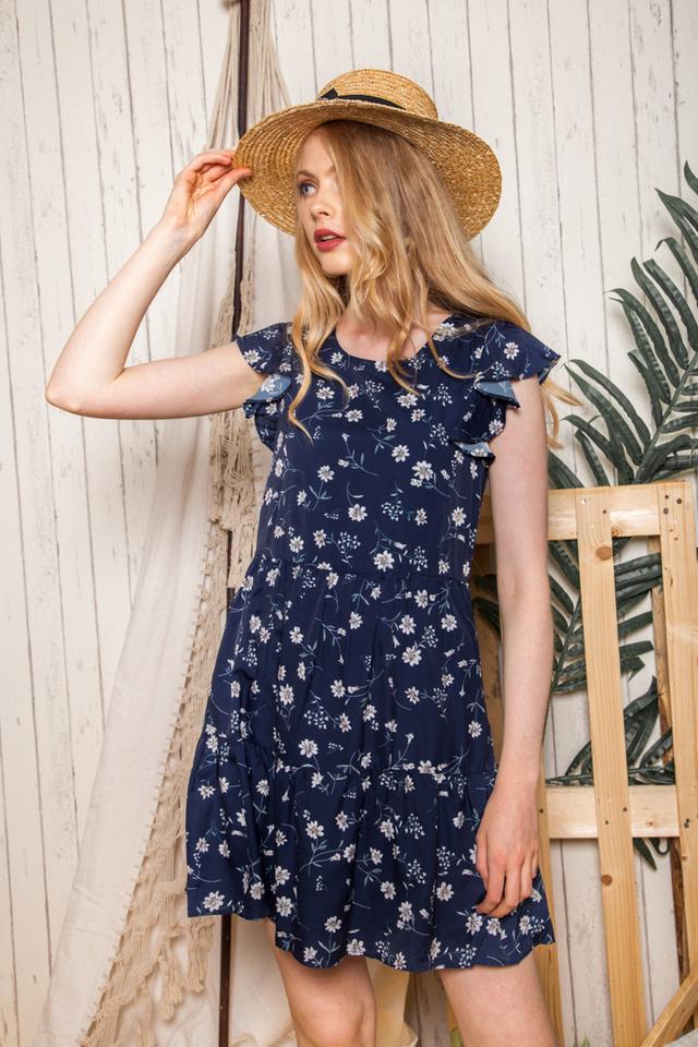 Britta Floral Ruffles Dress in Navy