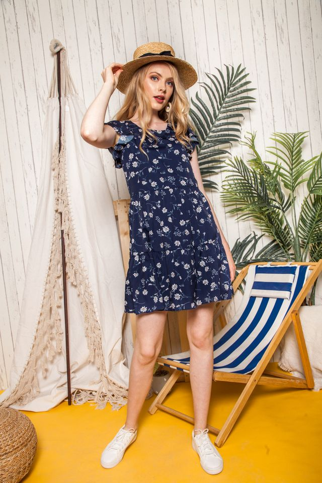 Britta Floral Ruffles Dress in Navy