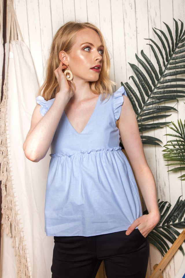 Kailey Ruffled Babydoll Top in Sky Blue (L)