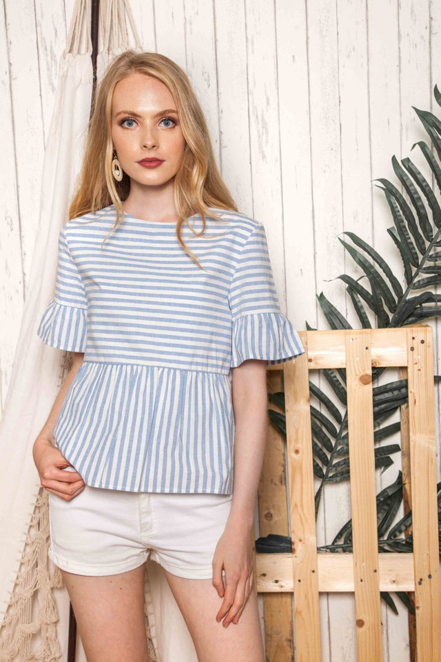 Cybele Striped Babydoll Top in Cornflower Blue