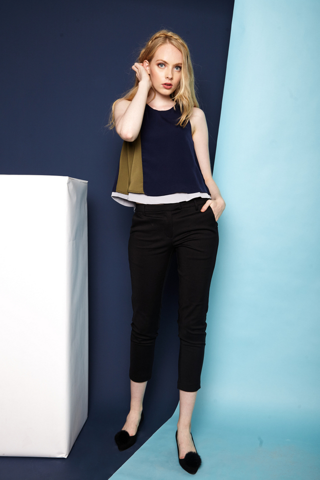 Benica Colourblock Flared Top in Navy