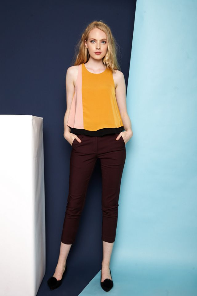 Ondrea Slim Fit Work Pants in Burgundy