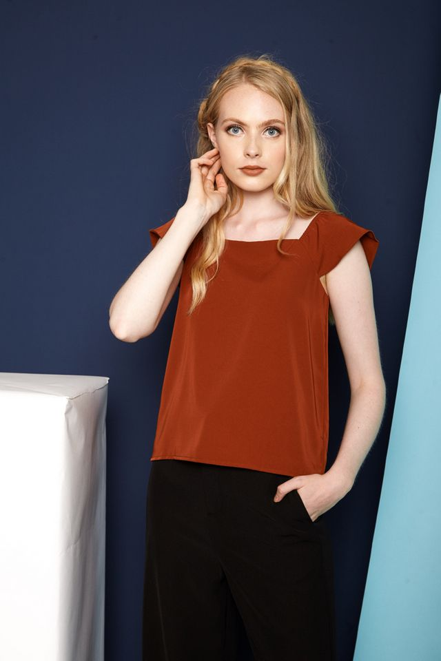 Cinna Cap Sleeve Top in Rust (XL)