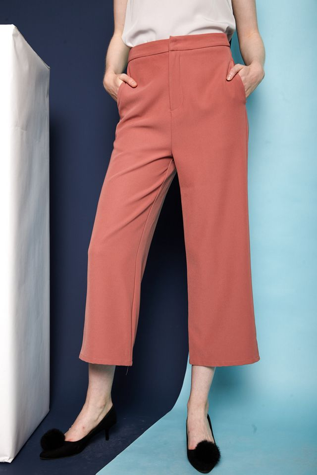 Juneau Straight Wide Leg Pants in Salmon Pink